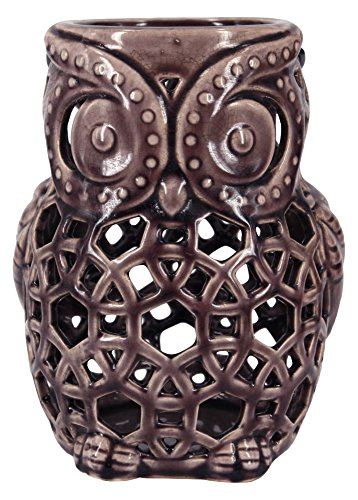 True Grit Fine Ceramic Vintage Style Pillar Decorative Candlestick Holder, Owl, (Vintage Porcelain Candle Holder)
