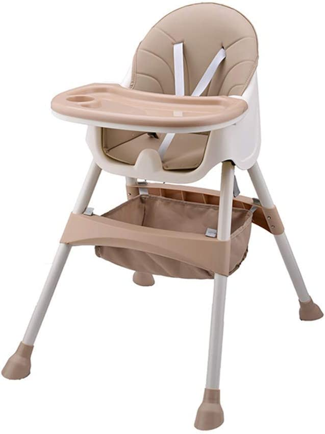 with Removable Tray 5-piont Harness and Adjustable Height Legs Folding and Portable Dining Chair for Boys and Girls High Chair for Baby and Toddler Pink