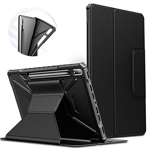 INFILAND Galaxy Tab S7+/ S7 Plus Case, Multiple Angles Protective Case Cover Compatible with Samsung Galaxy Tab S7+/ S7 Plus 12.4-inch SM-T970/T975/T976 2020 Tablet [Auto Wake/Sleep], Black