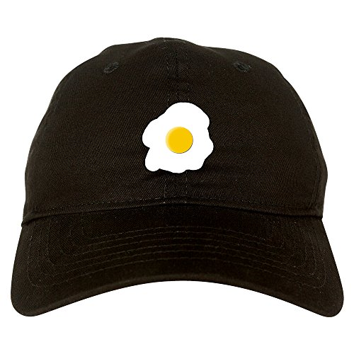 Fried Egg Breakfast Chest Mens Dad Hat Baseball Cap Black (Egg Baseball)