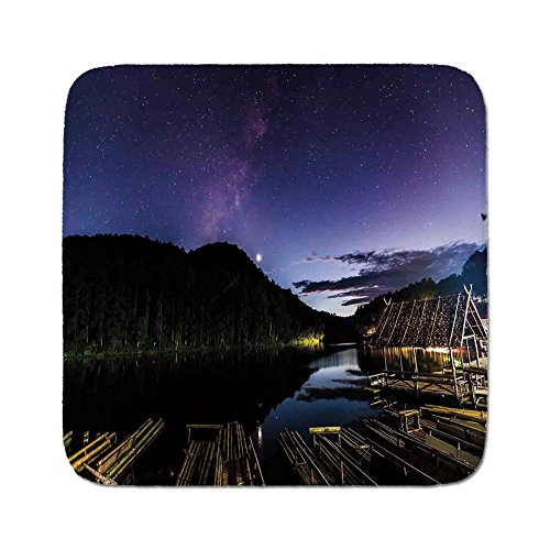Cozy Seat Protector Pads Cushion Area Rug,Space,Disk Shaped Structured Hazy Band Milky Way Projection over A Forest Space Constellation,Multi,Easy to Use on Any Surface