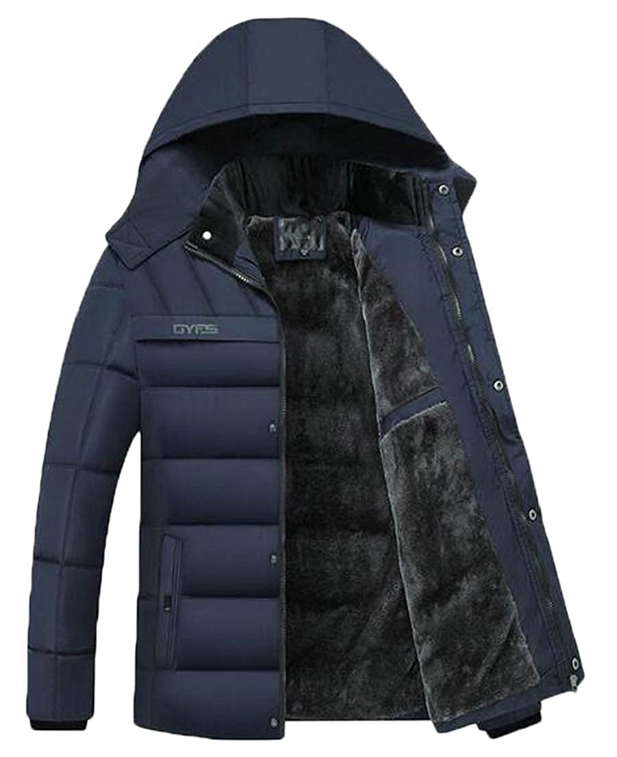 Jotebriyo Mens Fleece Lined Warm Winter Hooded Down Quilted Jacket Parka Coat Outerwear