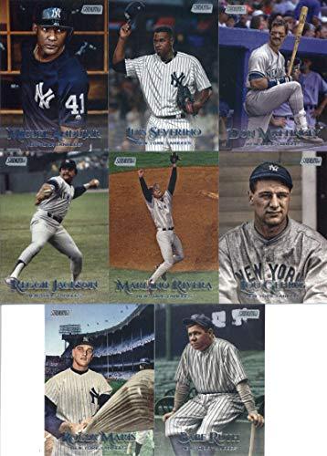 2019 Topps Stadium Club Baseball New York Yankees Team Set of 16 Cards: Giancarlo Stanton(#22), Luis Severino(#119), Miguel Andujar(#123), Reggie Jackson(#131), Gary Sanchez(#137), Derek Jeter(#141), Gleyber Torres(#153), Didi Gregorius(#154), Don Mattingly(#157), Mariano Rivera(#173), Masahiro Tanaka(#181), Aaron Judge(#194), Hideki Matsui(#197), Lou Gehrig(#245), Roger Maris(#256), Babe Ruth(#259)