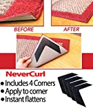NeverCurl Best V Shape Design to Instantly Stops Rug Corner Curling. Safe for wood floors. For Indoor & Outdoor Rugs. Not an anti-slip pad. Made USA. Patent Pending
