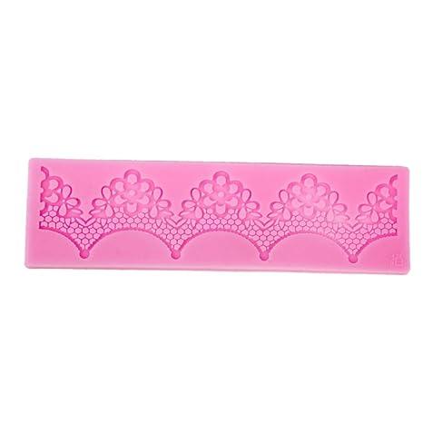 Molde de Silicona para Encaje Flor Fondant Pasta de Azúcar de Color Rosa