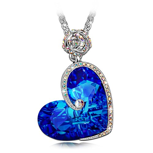 "J.NINA ""Aphrodite"" Rose Heart Women Necklace Made With Swarovski Crystals, Engraved With ""I Love You"",Jewelry For Women"