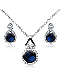 Charming 18 ct White Gold Plated Blue Simulated Sapphire Zirconia Austrian Crystals Set Necklace Earrings