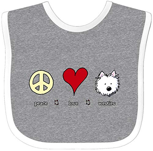 Inktastic - Peace Love Westies Baby Bib Heather/White - KiniArt 25a7f