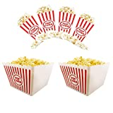 Plastic Red & White Striped Classic Popcorn Containers for Movie Night Bundle 8 1/2'' Square x 7'' Deep & 6.11'' Tall x 3.8'' Square (6)