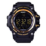Men Bluetooth Smart Watch EUTUKEY Outdoor Sport Watch Fitness Tracker IP67 Waterproof Remote Camera Smart Band for Android with Android iOS,12 Months Standby Time(Yellow)