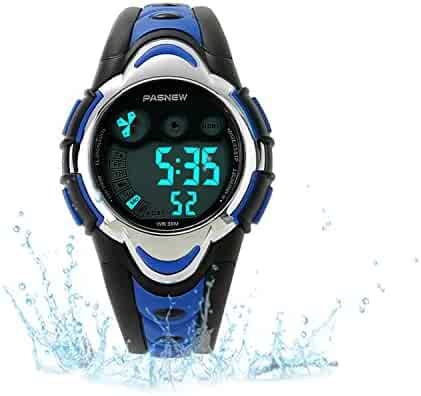 Kids Sport Watch Outdoor LED Sport Waterproof Electronic Quartz Watches for Boy Girls Kids Blue