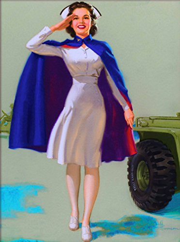 (A SLICE IN TIME 1940s Pin-Up Girl WWII American Army Nurse Picture Poster Print Vintage Travel Art Pin Up. Poster measures 10 x 13.5 inches)