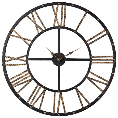 Sterling 129-1024 Restoration Metal Framed Roman Numeral Open Back Wall Clock, 28 by 28-Inch, Mombaca Black/Gold (Large Open Face Clock compare prices)