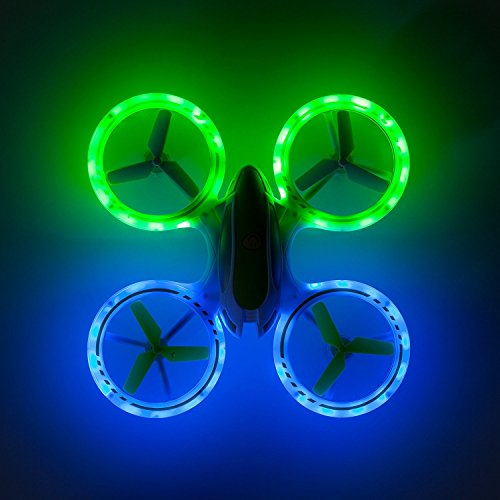 "Force1 Bright LED Quadcopter Drone – ""UFO 3000"" Easy Fly RC Drone for Kids with Glowing LED Drone Quadcopter Lights + Mini Drone Bonus Battery and Blades (Certified Refurbished)"