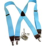 Hold-Ups Sky Blue 1 1/2'' wide Suspenders in X-back Style Silver No-slip Clips