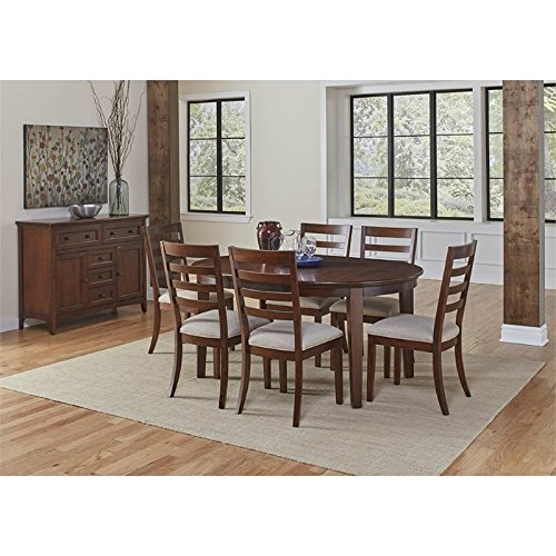 A-America Westlake 8 Piece Oval Extendable Dining Set in Cherry Brown