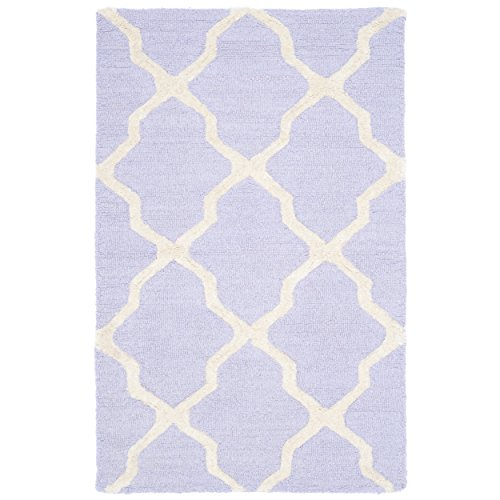 Safavieh Cambridge Collection CAM121C Handcrafted Moroccan Geometric Lavender and Ivory Premium Wool Area Rug (2'6
