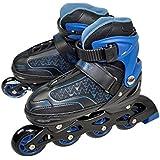 Patins Roller In Line Ajustável 33 36 Preto e Azul Discovery Adventures ABEC-7