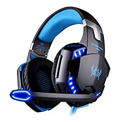 Versiontech G2000 Stereo Gaming Headset For Ps4 Xbox One, Bass Over-ear Headphones With Mic, Led Lights & Volume Control For Laptop, Pc, Mac, Ipad, Computer, Smartphones, Blue
