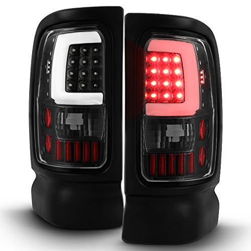 For 1994-2001 Dodge Ram 1500 2500 3500 Black LED Tube Tail Lights Lamps (Driver + Passenger) Pair (96 Dodge Ram Led Tail Lights)