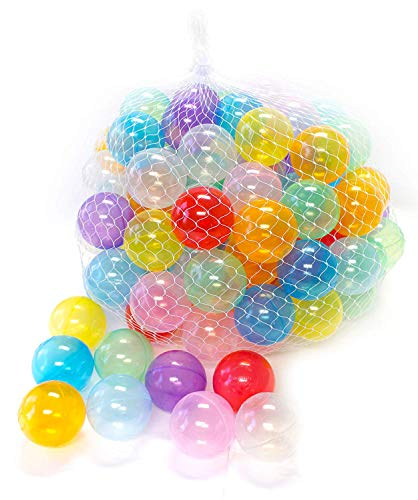EWONDERWORLD 100 Count Non-Toxic BPA & Phthalate Free Crush Proof Plastic Invisiball Play Balls with 10 Transparent Colors and Net Bag - Pit Balls for Kids & Toddlers, Playpen & Kids Tent Play Balls ()