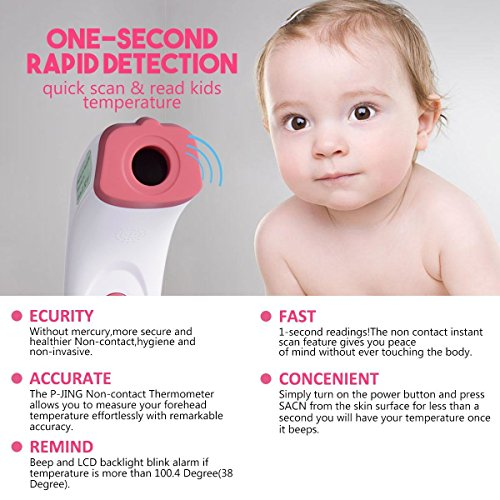 Forehead Thermometer, JDDZ Non-Contact Infants Infrared Thermometer, Professional Clinical Instant Digital Fever Temperature Scanner for Baby,Kids and Home with Bilingual Celsius Fahrenheit(Pink) by JDDZ (Image #4)