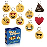 Emoji Keychain Round Faces Set of 10 - Cute Sweet Soft & Plush Yellow Pillow Keychains - Durable Metal Hook Ring - Funny Children Party Favors - Easy Installation On Backpacks, Purses, Phones & Stuff