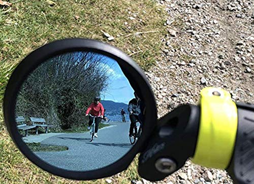 Hafny Bar End Bike Mirror, HD, Blast-Resistant, Glass Mirror, HF- MR090B (Automotive Grade Anit-Glare ()