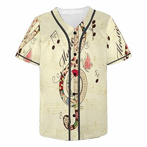 Baseball Musical (InterestPrint Men's Casual Short Sleeve Baseball Shirt Jersey Shirts Musical Treble Clef S)