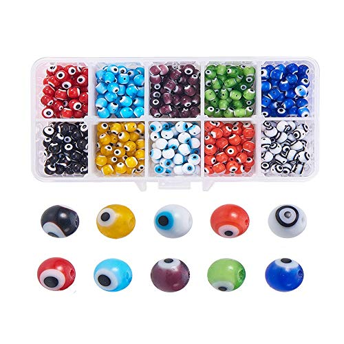 500 Pcs 6mm Evil Eye Glass Beads,Colored Eye Handmade Beaded Material,Charms for Jewelry Making.for Jewelry Bracelets,Necklaces Or Other DIY Jewelry Making. (10 Colors)