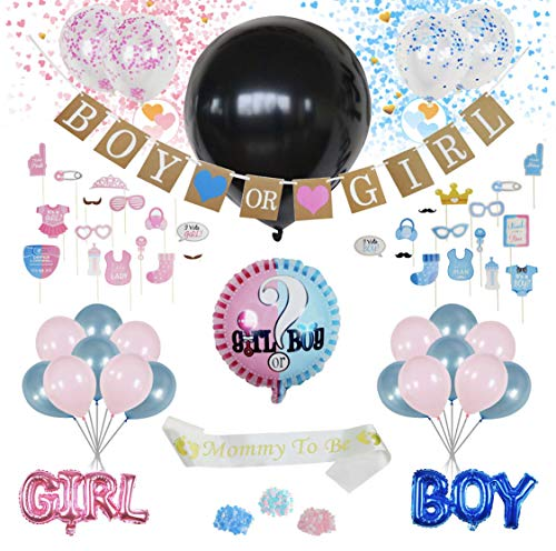 Party Txme Gender Reveal Party Supplies Decorations, Baby Shower Girl, Boy, With Black Balloon, Blue & Pink Confetti, Banner Backdrop, Photo Booth Props Kit Decoration, Gift For Gender Reveal -