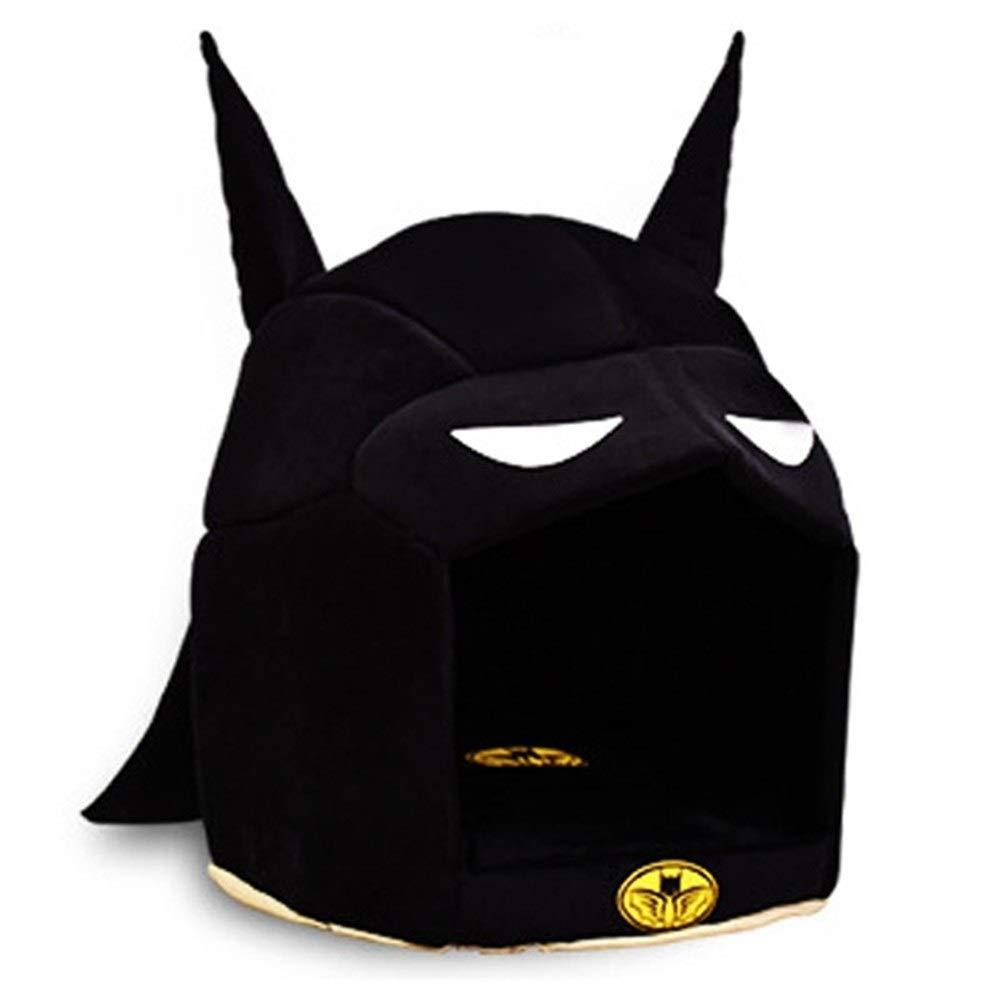 YYi-kuG Creative Batman Warm Dog Pet Puppy Kennel Sofa Removable Dog House Cat Nest Mat for Small Medium Dog Pet Puppy Bed (Color : Black, Size : M 40cm)