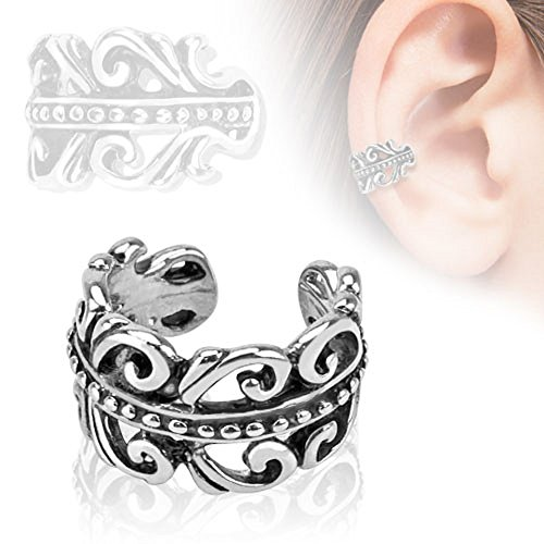 Carved Swirls Rhodium Plated Brass Non Piercing Ear Cuff & FREE ITEMS by PIERCE ME (Rhodium Brass Plated)