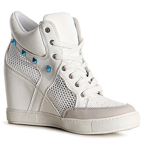 topschuhe24 1118 Damen Sneaker Keilabsatz Stiefeletten Hidden Wedges, Farbe:Weiß;Größe:37