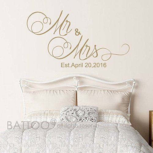 BATTOO Mr And Mrs Wall Decals - Mr and Mrs Stickers - Newlywed Wall Decals - est date Wall Decal - Monogrammed Wall Decal - Wedding Gift(gold, 22