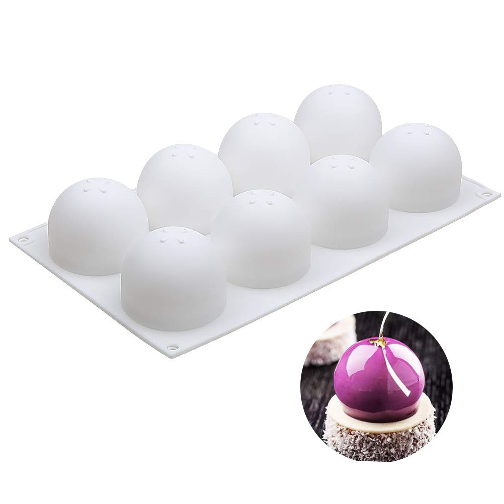 3D Sphere Silicone Mold, Round Mousse Cake Baking Molds, Dessert Molds for Jelly, Ball Pastry and Ice Cream Bombe, 11.5 x 6.8 x 2.2 Inch (Single sphere mold: D 2.4 x 2.2 Inch) by Baker Boutique