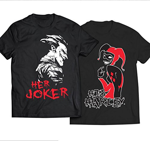 His Harley Her Joker Love Couples Unisex Black T-Shirt - Couples Apparels by JasCouplesApparels