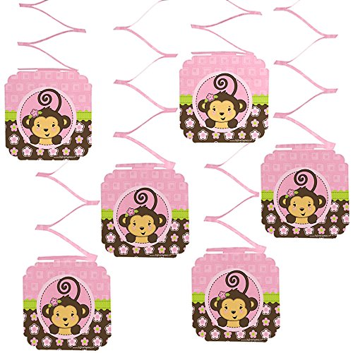 Big Dot of Happiness Pink Monkey Girl - Baby Shower or Birthday Party Hanging Decorations - 6 Count -
