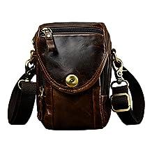 Le'aokuu Mens Genuine Oil Leather Messenger Shoulder Bag Business Briefcase
