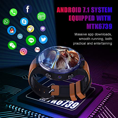 LEMFO LEM12 Smart Watch Face Recognition Large Memory Dual Camera 1.6-Inch 1800 Mah Battery Smart Reminder Information Push,Black