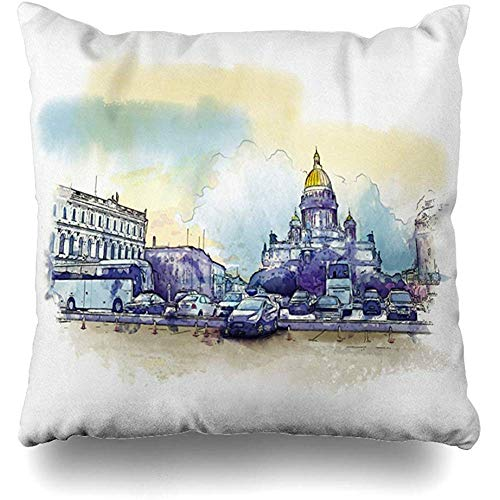 Throw Pillow Cover Cushion Cases Green Church Saint Petersburg Isaakievsky Cathedral Panorama St Watercolor City Cityscape Design Home Decor Design Square Size 18