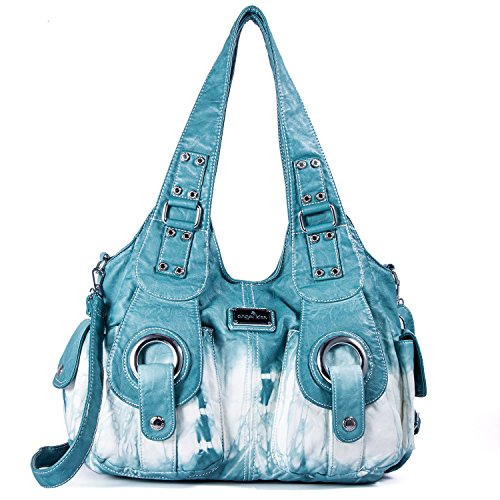 Handbag Hobo Women Bag Roomy Multiple Pockets Street ladies' Shoulder Bag Fashion PU Tote Satchel Bag for Women (XS160191Z bluegreen) by Angel Kiss