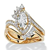 Marquise-Cut White Cubic Zirconia 14k Gold-Plated 2-Piece Halo Bridal Ring Set Size 6