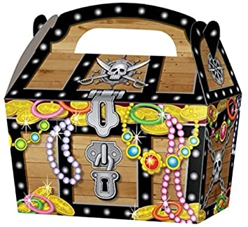 10 X Pirat Schatztruhe Kinder Party Behandeln Kuchen Essen Boxen