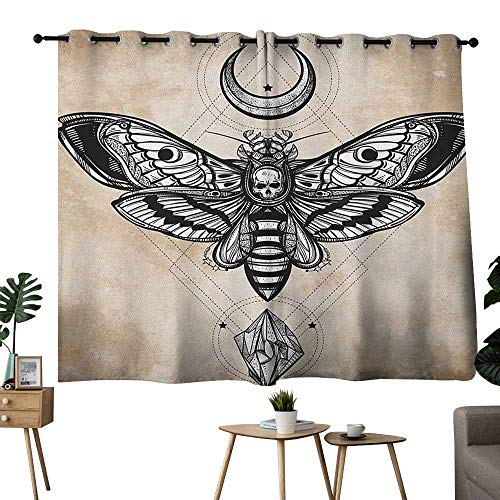 Mannwarehouse Fantasy Printed Curtain Dead Head Hawk Moth with Luna and Stone Spiritual Magic Skull Illustration Noise Reducing 63
