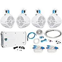 2 Pair Rockville RWB80W 8 Wakeboard Marine Speakers+6 Channel Amplifier+Amp Kit