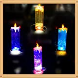 Zehui USB Rechargeable Spinning Candle Night Lamps 7 Colors Changing Flickering LED Glitter Flameless Candle Lights For Party Decoration LED Tea Light