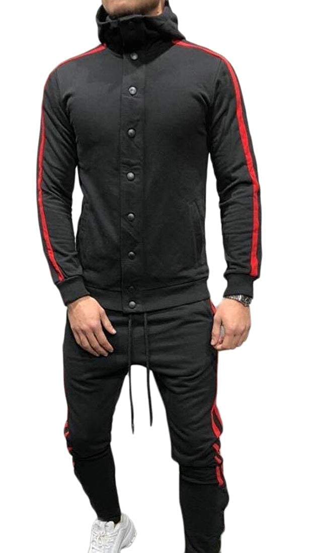 HTOOHTOOH Mens Workout Hoodies Hip-Hop Single-Breasted Two-Piece Sets Jogger Tracksuits