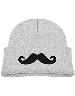 Kids Knitted Beanies Hat Mustache Winter Hat Knitted Skull Cap for Boys Girls Blue