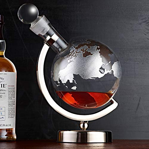 Platinum Etched Globe Whiskey Decanter with Nickel Finish Stand